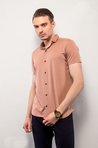 Peach Half-Sleeves Shirt