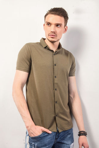 Dark Brown Half-Sleeves Shirt