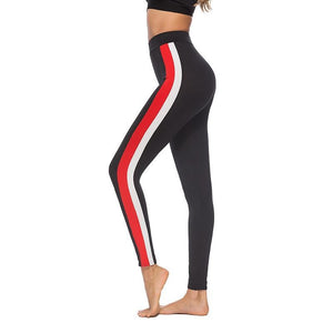 #1901 -  Black Casual Active Wear with White & Red Side Strips