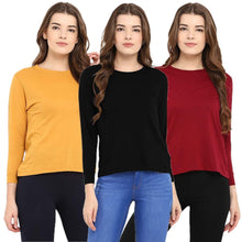 Load image into Gallery viewer, Black : Yellow : Red - Crew Neck Long Sleeve T-Shirts Combo