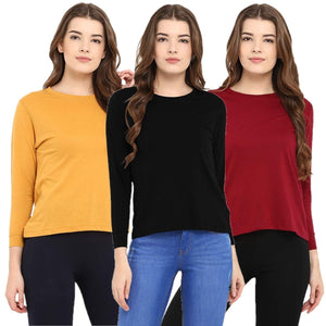 Black : Yellow : Red - Crew Neck Long Sleeve T-Shirts Combo