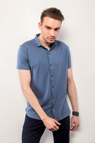 Ocean Blue Half-Sleeves Shirt