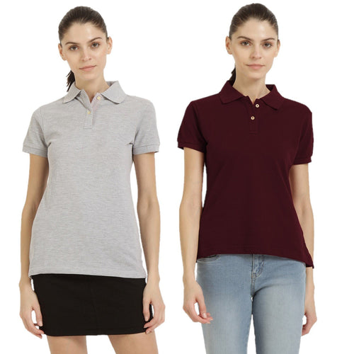 Milange Grey : Maroon - Polo Neck Short Sleeve T-shirts Combo
