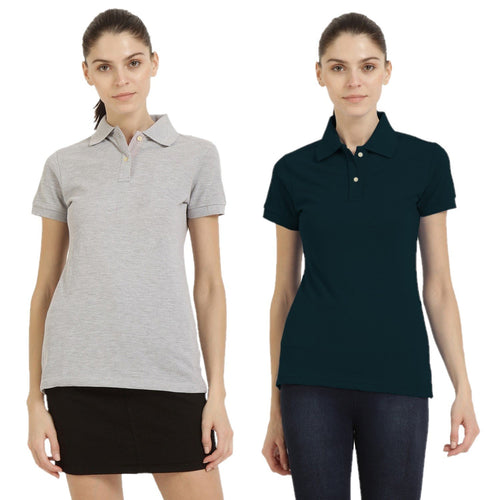 Milange Grey : Navy Blue - Polo Neck Short Sleeve T-shirts Combo