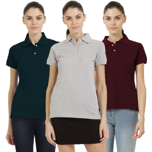 Milange Grey : Navy Blue : Maroon - Polo Neck Short Sleeve T-shirts Combo