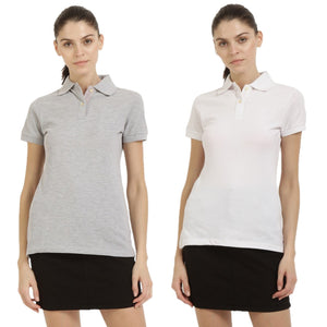Milange Grey : White - Polo Neck Short Sleeve T-shirts Combo