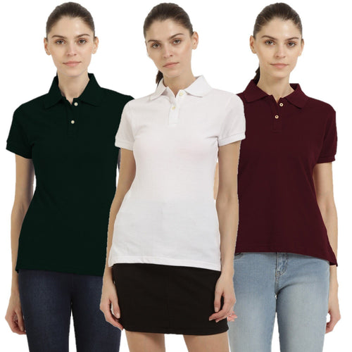 Maroon : Black : White - Polo Neck Short Sleeve T-shirts Combo