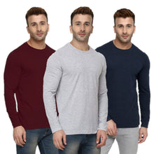 Load image into Gallery viewer, Navy : Grey : Maroon - Full Sleeves T-shirts Combo