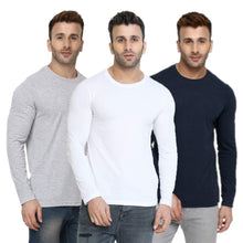 Load image into Gallery viewer, Grey : White : Navy Blue - Full Sleeves T-shirts Combo