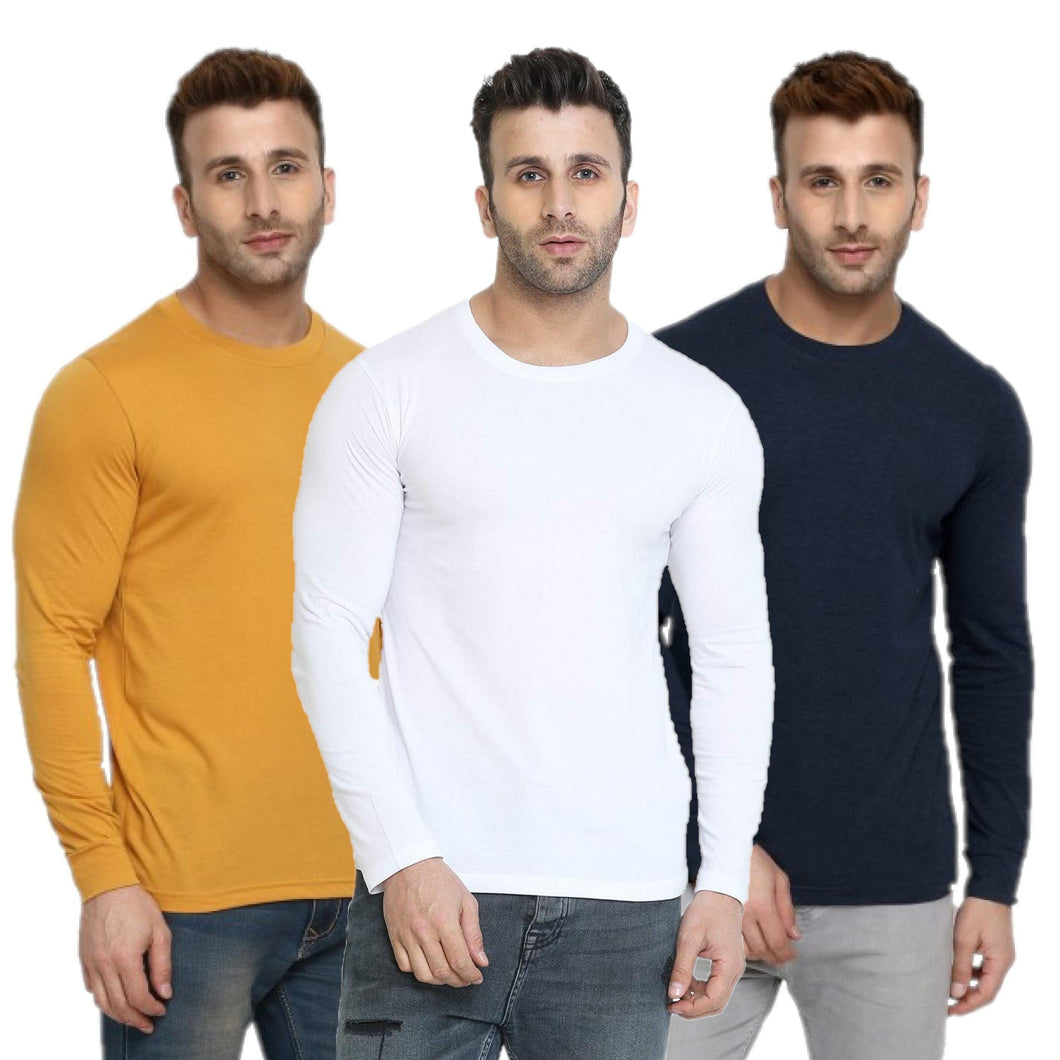 Yellow : White : Navy Blue - Full Sleeves T-shirts Combo