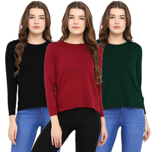 Red : Black : Olive Green - Crew Neck Long Sleeve T-Shirts Combo