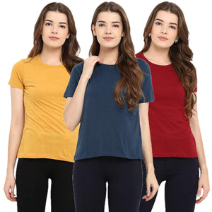 Red : Navy Blue : Yellow - Crew Neck Short Sleeve T-Shirts Combo