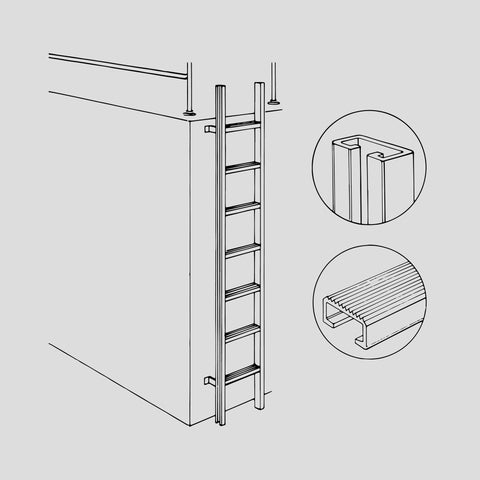 Aluminum vertical ladder