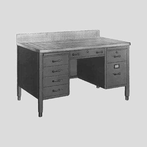 Desk, flat top, double pedestal