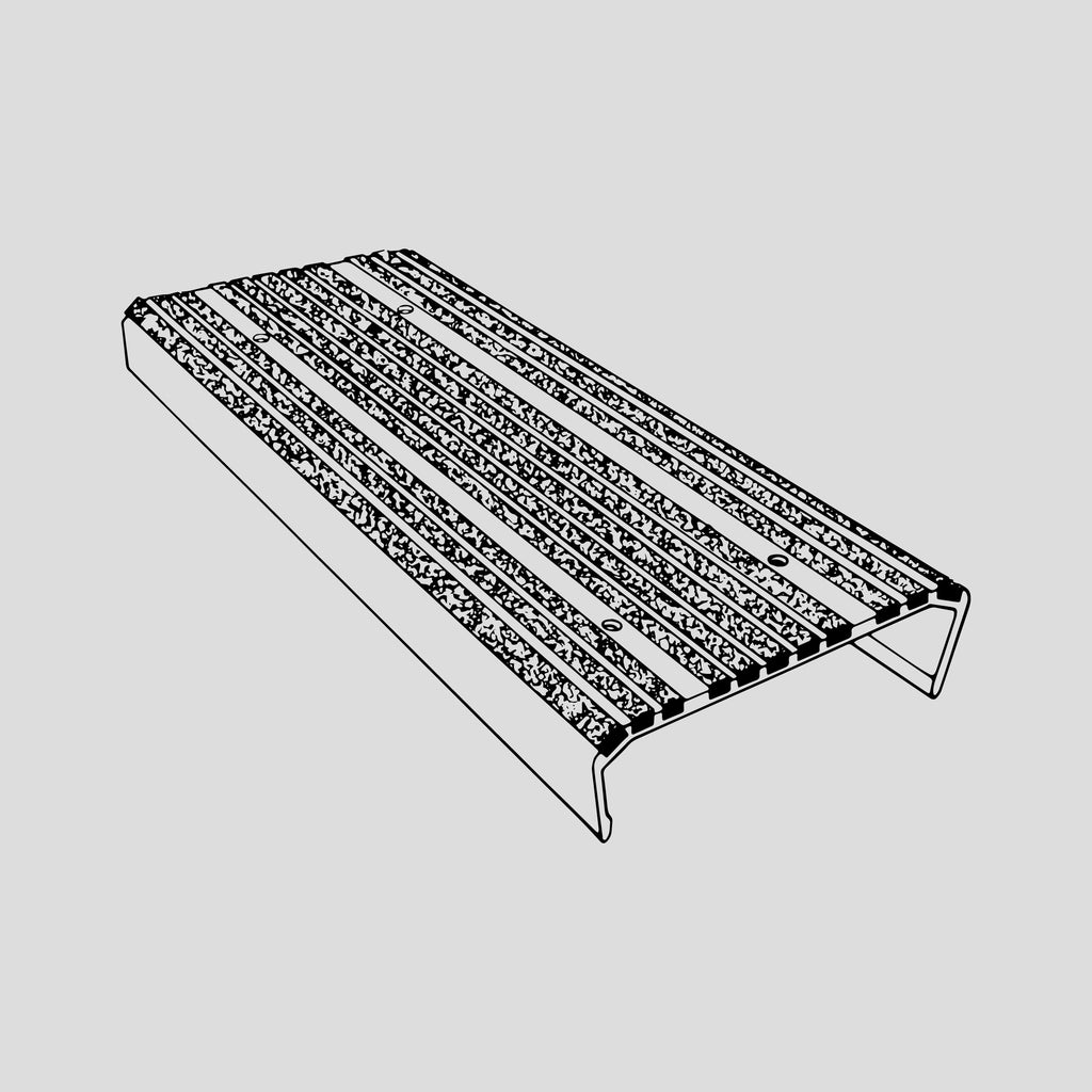 "Ladder cap tread, aluminum, non-skid, 9"" wide"