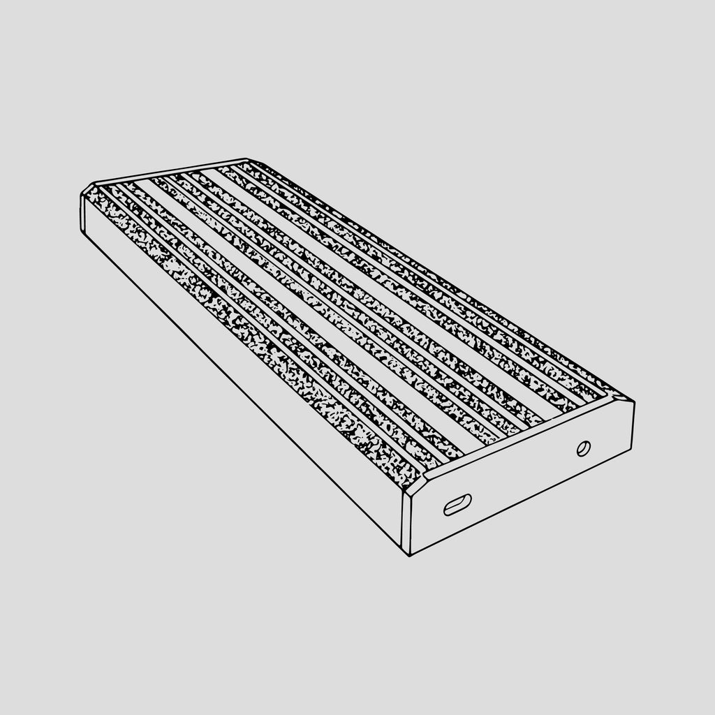 "Ladder tread, aluminum, non-skid, 6"" wide"