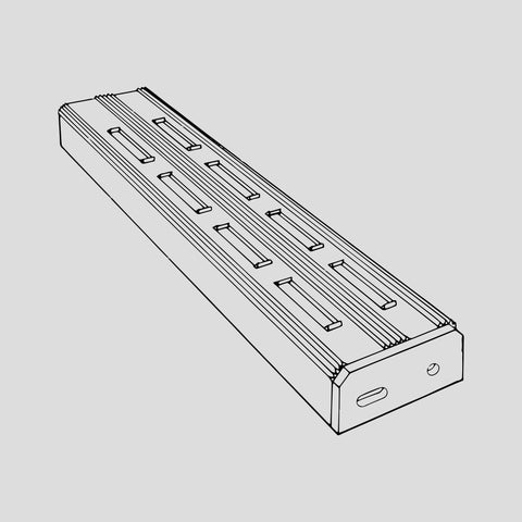 "Ladder tread, aluminum, slotted, 6"" wide"