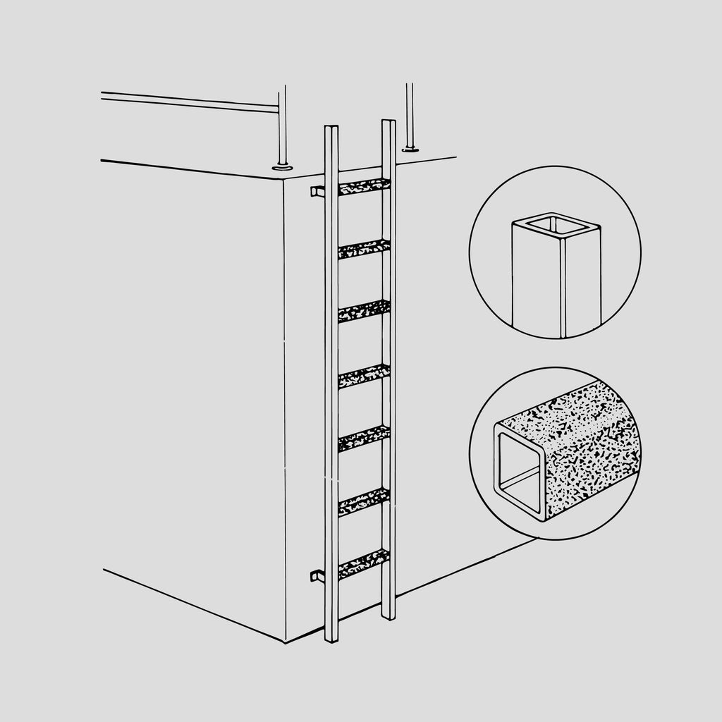 "GRP vertical ladder with 1-1/2"" stringers"