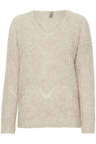 Slight fairisle, cream knitted jumper. Slight v neck. Slight melange cream look. Perfect snuggly winter jumper. warm. autumn.