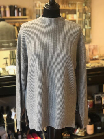 High neck, light/med grey ribbed jumper. Gorgeous tailored utility shape.