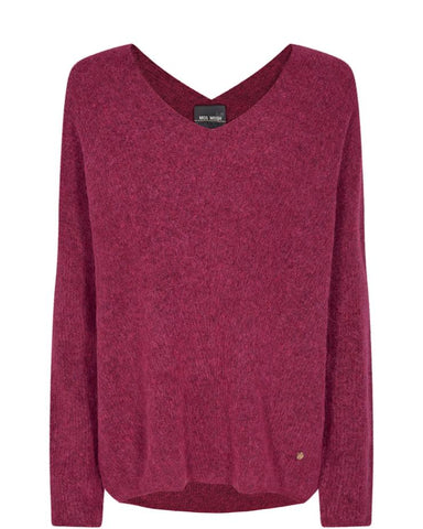 Slight v neck, light pinky berry coloured / raspberry colour winter jumper. warm, cosy, snuggly. Mos Mosh brand.