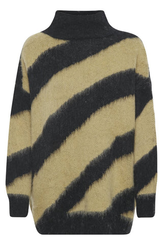 high neck beige/tan nude and black diagonal stripe jumper. slightly longer, oversized shape.