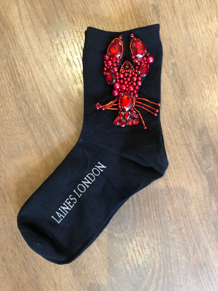 Laines London Beaded Lobster Bamboo Socks