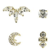 Pure By Nat 4 In A Box Earrings With Zircons Gold Plated