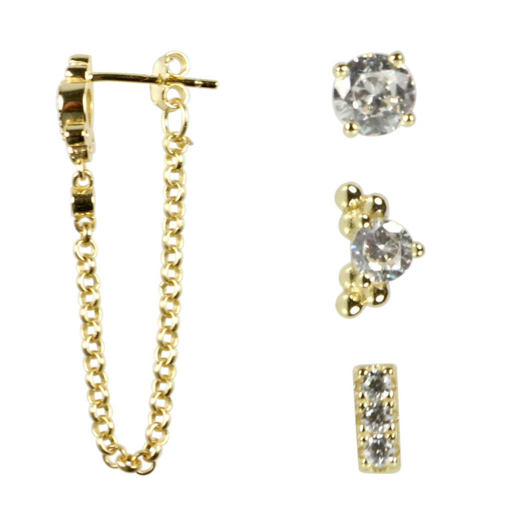 Pure By Nat 4 In A Box Earrings With Zircons Gold Plated - Chain Drop