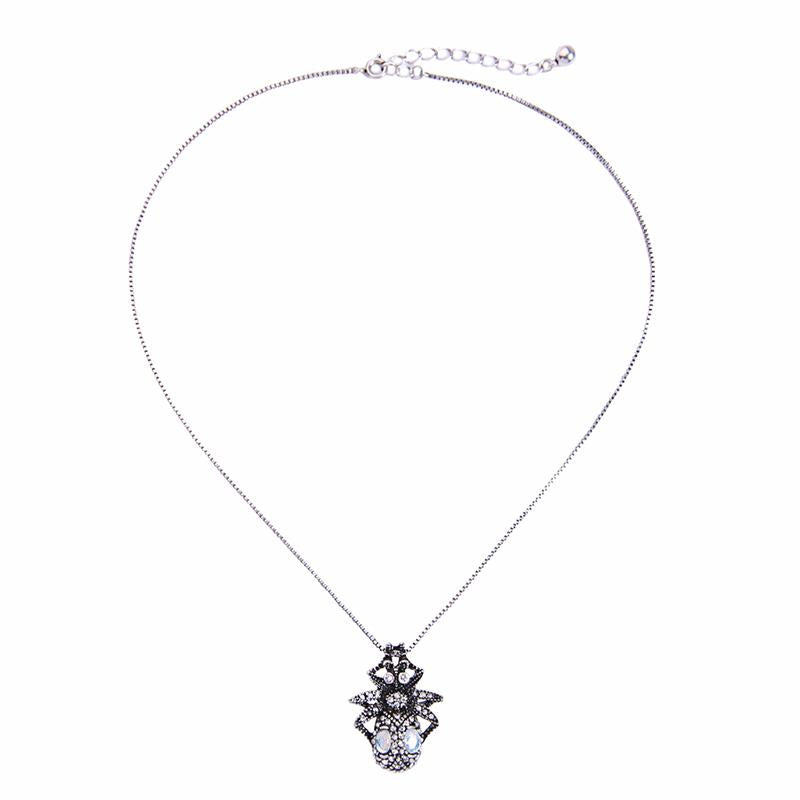 Vintage Look Crystal Spider Necklace