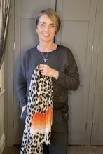 Load and play video in Gallery viewer, Leopard Stripe Scarf - Brown/Orange