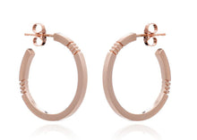 Load image into Gallery viewer, Cabbage White Rose Gold Midi Hoop