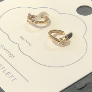 CZ Star Mini Hoop Earrings - Gold Plated