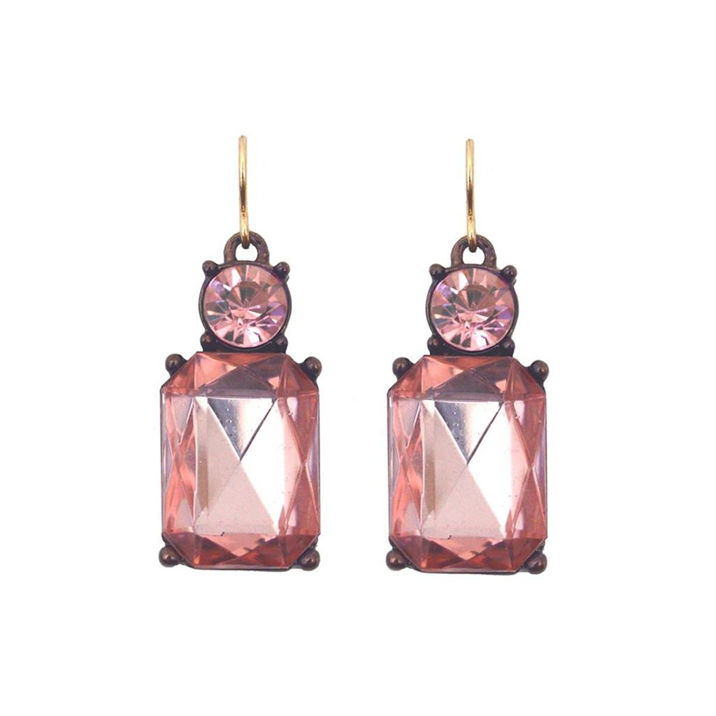 Cut Gem Drop Earrings - Blush