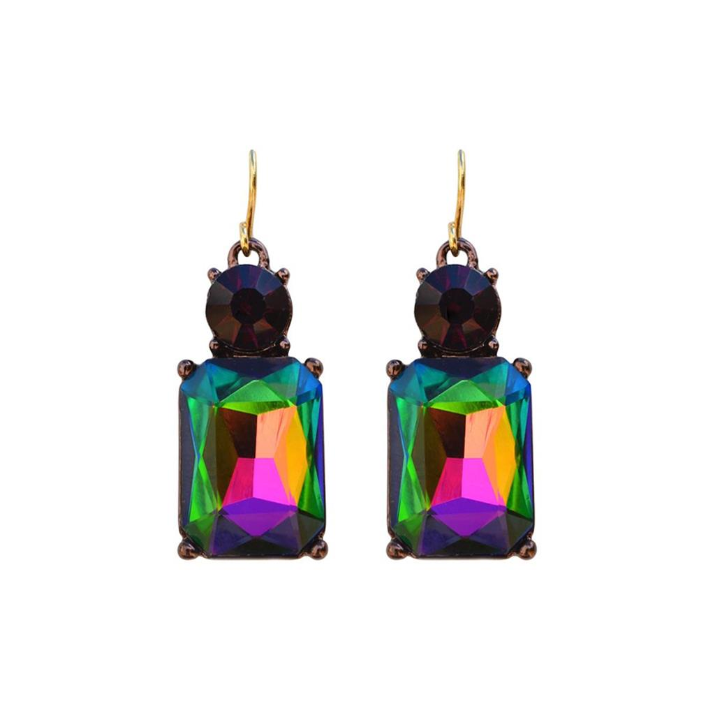Cut Gem Drop Earrings - Dark Kaleidoscope