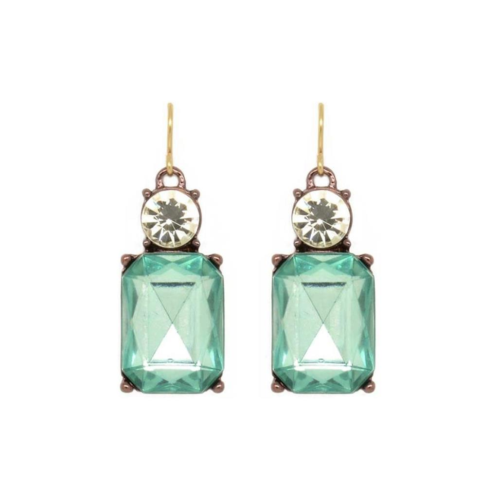 Cut Gem Drop Earrings - Green/Clear