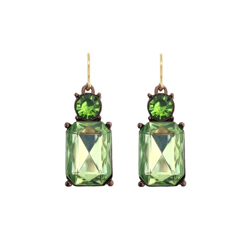 Cut Gem Drop Earrings - Lime
