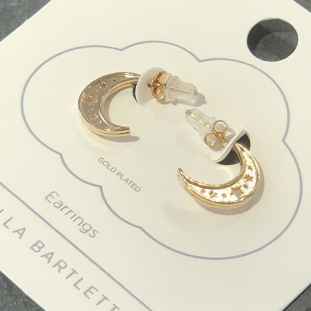 Cutout Side Moon Hoop Earrings - Gold Plated