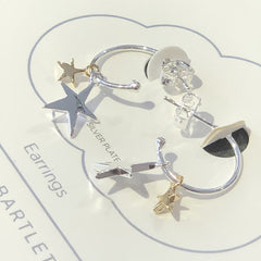 Double Star Drop Earrings - Silver and Gold Plated