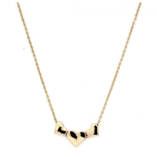 Three Hearts Necklace Gold