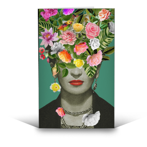 Frida Floral Green - Greetings Card