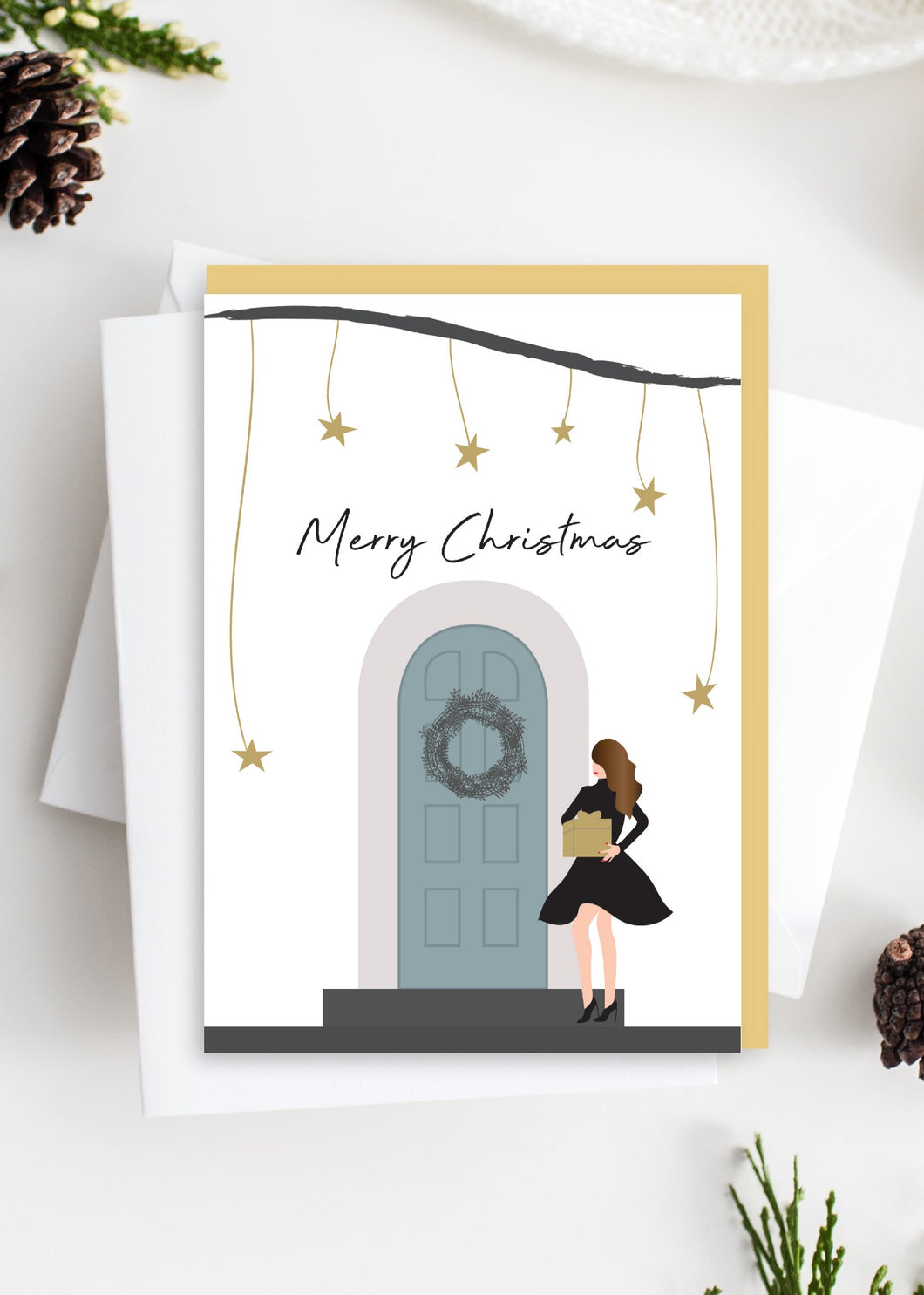 Tres Paper Christmas Girl on Teal Door Card