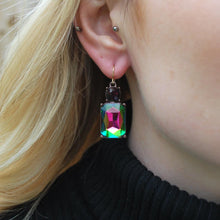 Load image into Gallery viewer, Cut Gem Drop Earrings - Dark Kaleidoscope