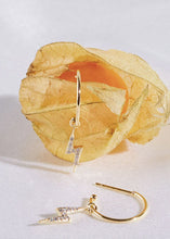 Load image into Gallery viewer, Lightning Bolt Drop Hoop Earrings - Gold Plated