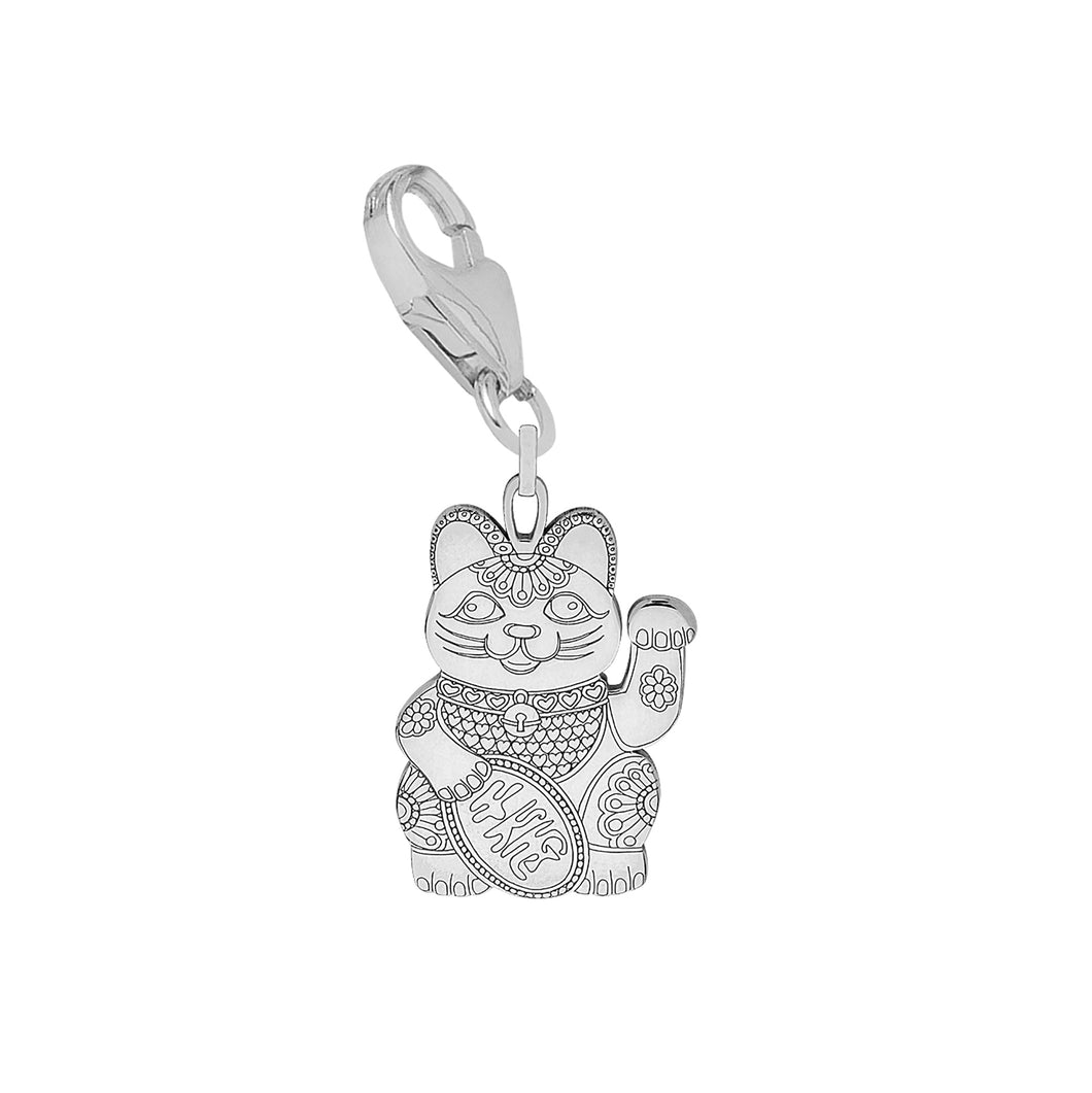 Carter Gore Silver Charm - Lucky Cat