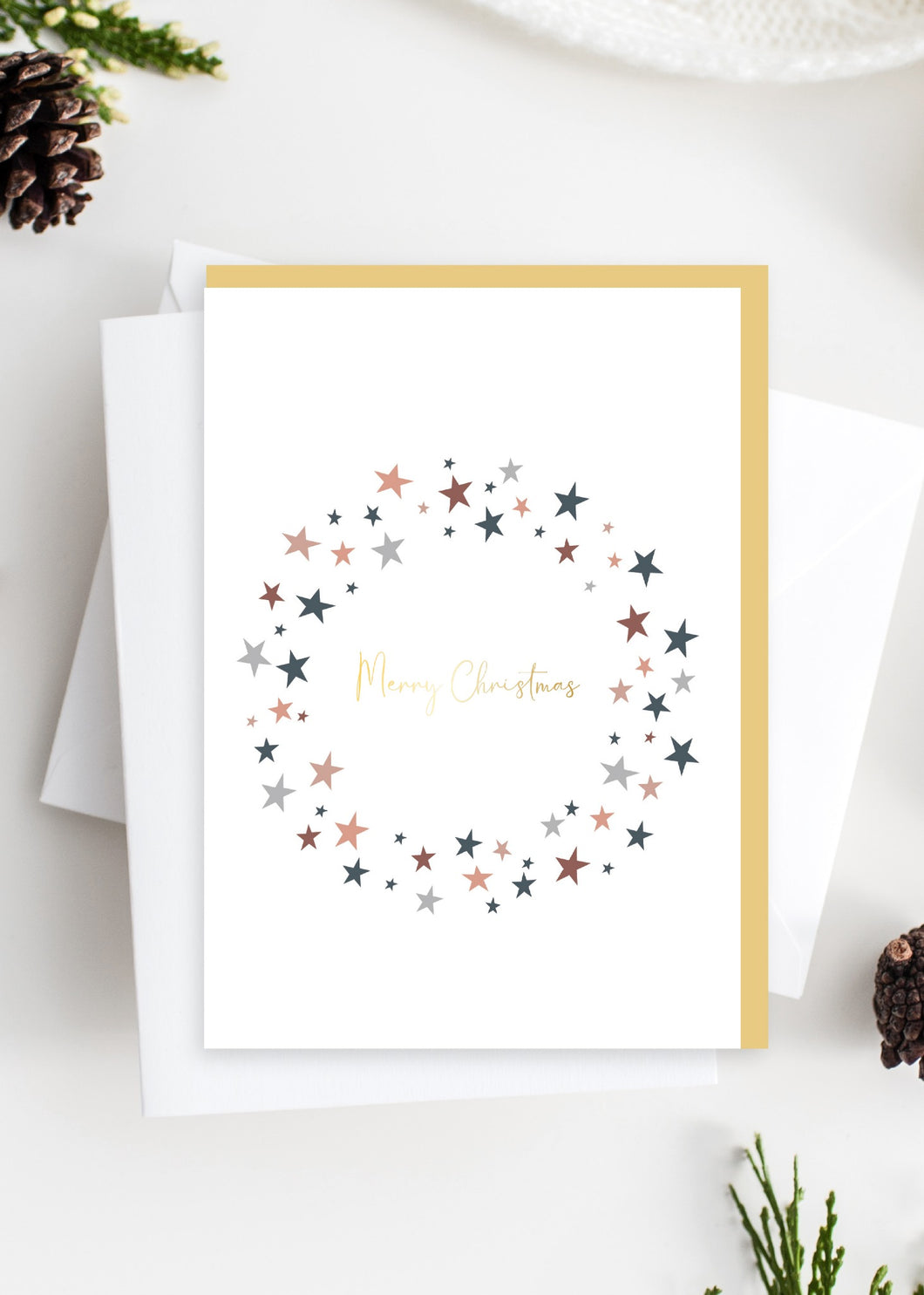 Tres Paper Merry Christmas Garland Card - Gold Foiled