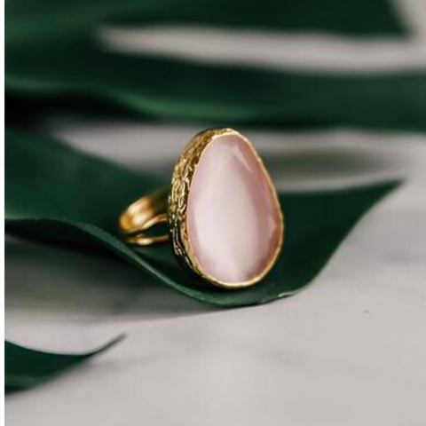 My Doris Adjustable Cocktail Ring Baby Pink
