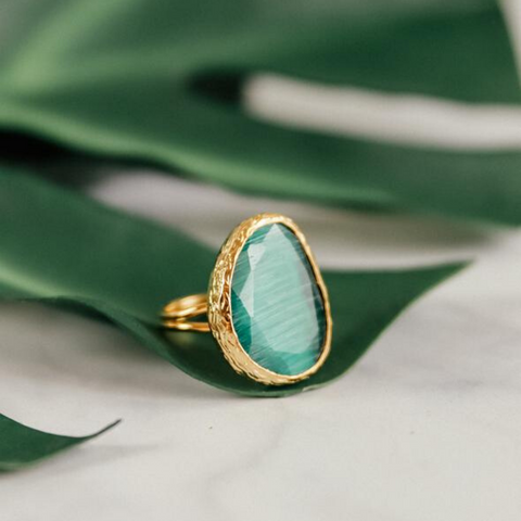 My Doris Adjustable Cocktail Ring Emerald