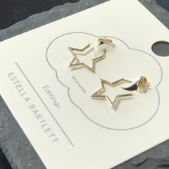 Open Star Hoop Earrings - Gold Plated