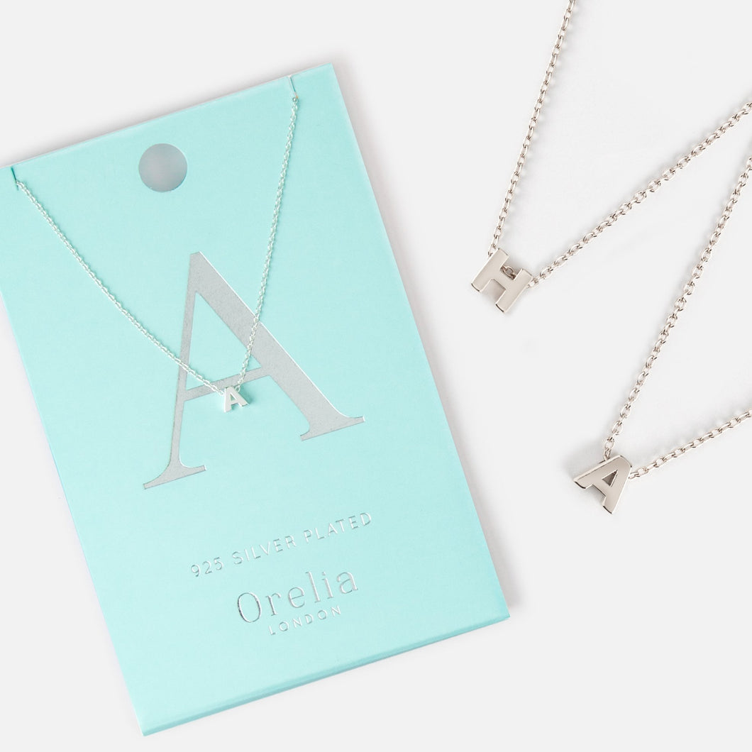 Orelia Silver Plated Initial Necklace